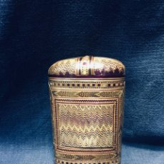 Cajas de Puros: ESTUCHE PURERA MARQUETERIA DE PAJA TEÑIDA ESPAÑA FFS S XVIII PPIO S XIX 11X6,5X3CMS. Lote 179197192