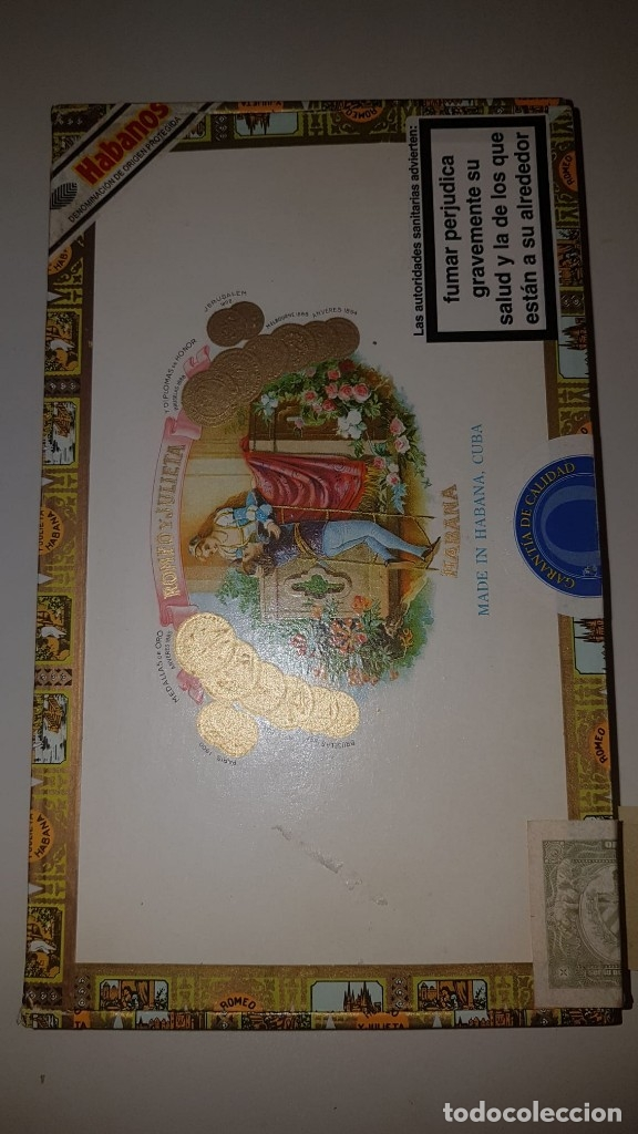 Cajas de Puros: Antigua caja de puros habanos Romeo y Julieta 25 Coronitas en cedro (14 habanos) año 2007. - Foto 4 - 180200282