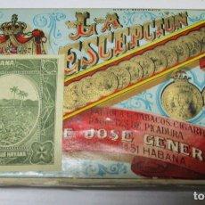 Cajas de Puros: LA ESCEPCION TABACOS CUBA PRE EMBARGO JOSE GENER Y BATET EXCELENTE ESTADO PAQUETE PICADURA. Lote 180280750