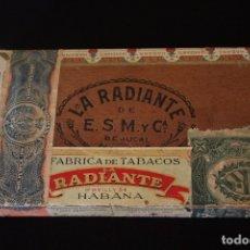 Cajas de Puros: LA RADIANTE-HABANA-ANTIGUA CAJA 25 PETIT BOUQUETS-VACIA. Lote 180497127