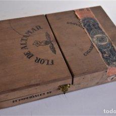 Cajas de Puros: RARA CAJA VACÍA FLOR DE ALTAMAR - 25 IMPERIALES - TAPA DOBLE. Lote 182409636