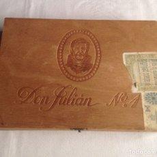 Cajas de Puros: CAJA DE MADERA DE PUROS DON JULIÁN N. 1, 25 GIGARRILLOS LUJO DALIA, CLARO.. Lote 182883725