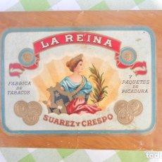 Cajas de Puros: PAQUETE DE TABACO, PICADURA FABRICA -LA REINA- DE SUAREZ Y CRESPO. PUROS CIGARROS. Lote 182962992