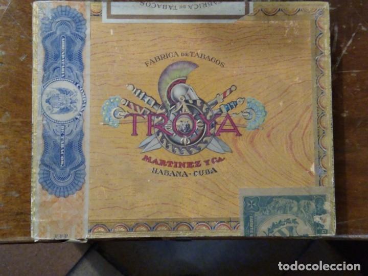 CAJA MADERA FABRICA DE TABACOS TROYA. MARTÍNEZ Y CÍA. HABANA. CUBA. (Coleccionismo - Objetos para Fumar - Cajas de Puros)