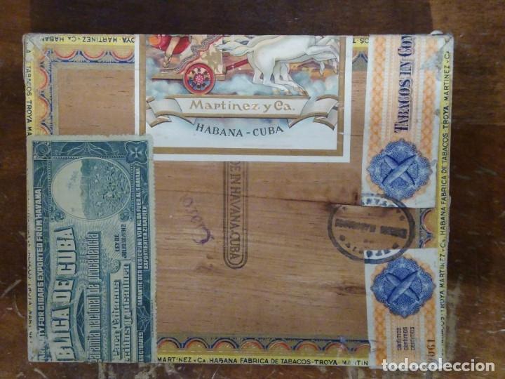 Cajas de Puros: Caja madera fabrica de tabacos Troya. Martínez y cía. Habana. Cuba. - Foto 3 - 183073051