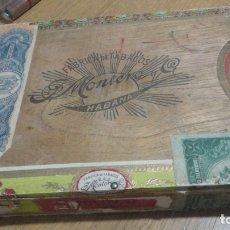 Cajas de Puros: ANTIGUA CAJA VACIA PUROS TABACOS HABANOS MONTERO Y CIA.25 CELLOPHANE HABANA CUBA. Lote 183335386