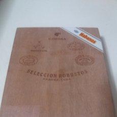 Cajas de Puros: CAJA HUMIDOR PUROS HABANOS SELECCION 5 MEJORES ROBUSTOS COHIBA PARTAGAS MONTECRISTO R&J HOYO VACIA. Lote 183836062