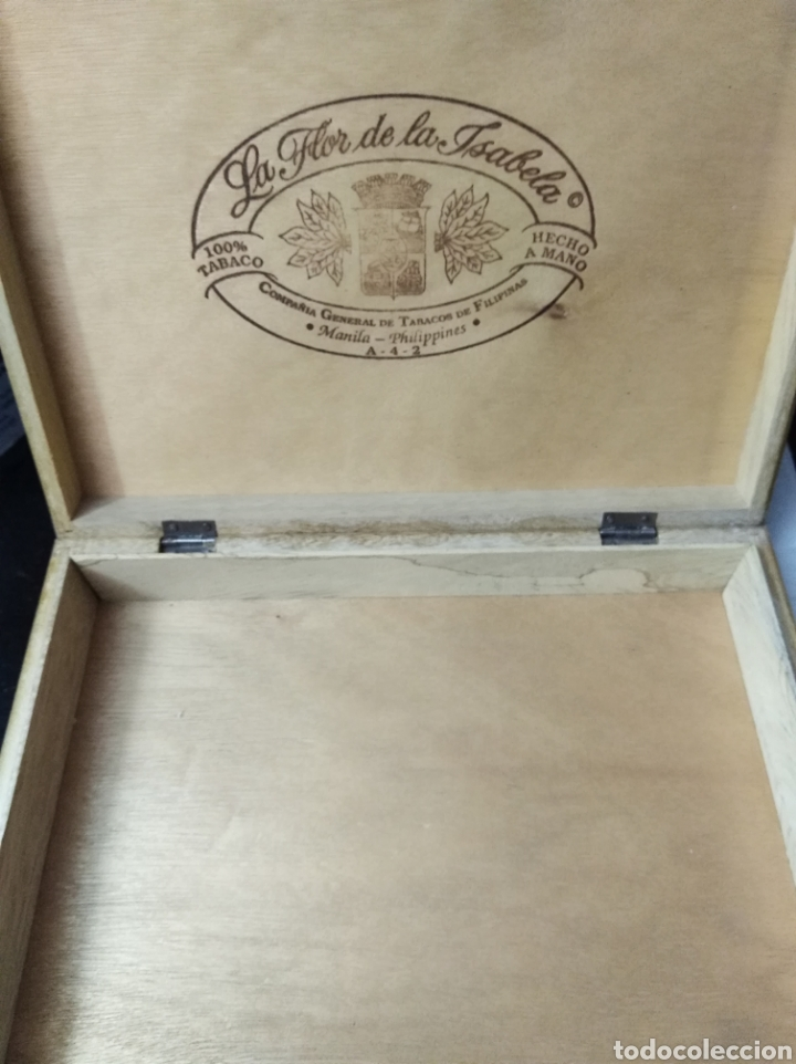 Cajas de Puros: Caja puros La Flor de la Isabella tabaco vacía madera vintage - Foto 2 - 184292010