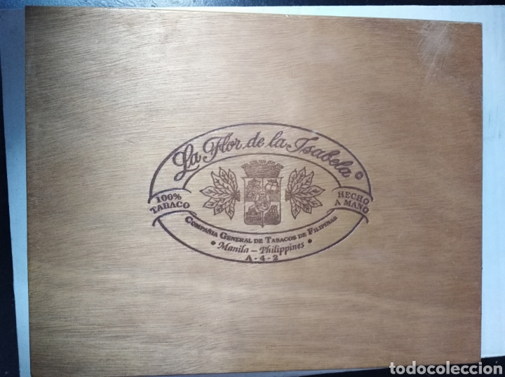 CAJA PUROS LA FLOR DE LA ISABELLA TABACO VACÍA MADERA VINTAGE (Coleccionismo - Objetos para Fumar - Cajas de Puros)