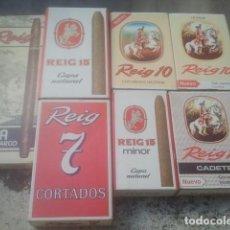 Cajas de Puros: CIGARROS PUROS REIG - LOTAZO DE CAJAS ANTIGUAS - DIFÍCILES Y TODAS SIN ADVERTENCIA - AÑOS 70 / 80. Lote 186408907