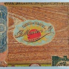 Cajas de Puros: ANTIGUA CAJA DE CIGARROS. FABRICA DE TABACOS J MONTERO Y CIA. LA HABANA, CUBA. W. Lote 186419705