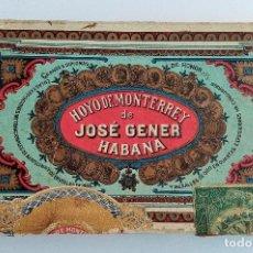 Cajas de Puros: ANTIGUA CAJA DE CIGARROS. HOYOS DE MONTERREY DE JOSE GENER. LA HABANA, CUBA. W. Lote 186419986