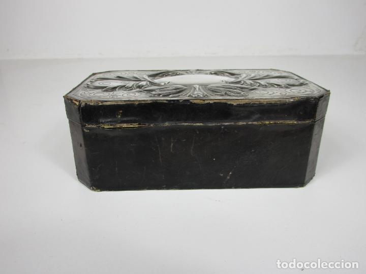 Cajas de Puros: Antigua Caja de Puros - Madera de Cedro, Forrada en Piel - Plata de Ley, Sello Masriera Carreras - Foto 5 - 187555360