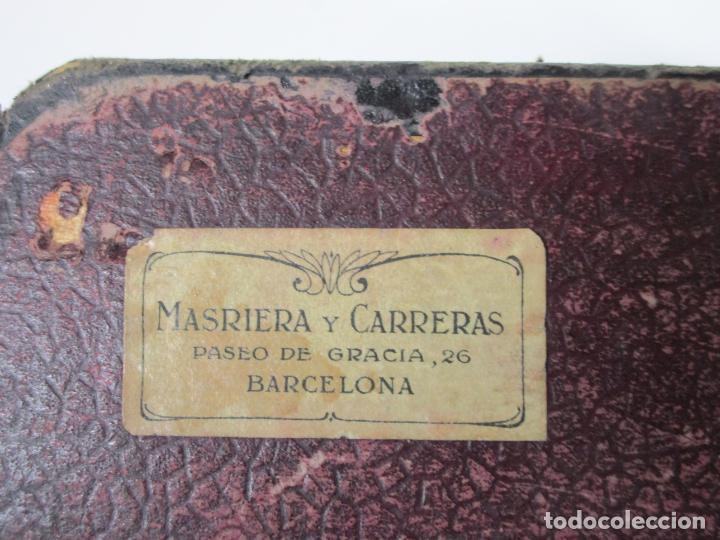 Cajas de Puros: Antigua Caja de Puros - Madera de Cedro, Forrada en Piel - Plata de Ley, Sello Masriera Carreras - Foto 12 - 187555360