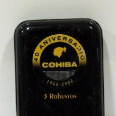 Cajas de Puros: CAJA DE PUROS COHIBA 3 ROBUSTOS. VACÍA, EDICIÓN ESPECIAL DEL 40 ANIVERSARIO.. Lote 189277377