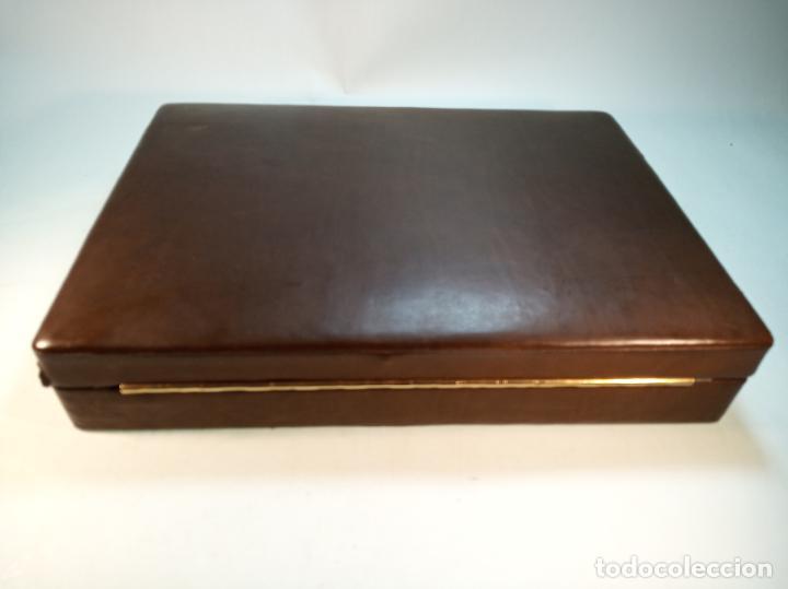 Cajas de Puros: GRAN CAJA DE PUROS EN MADERA FORRADA DE PIEL O SIMIL - NUMEROSOS COMPARTIMENTOS - Foto 5 - 189425865
