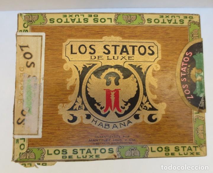 Cajas de Puros: CAJA DE PUROS - LOS STATOS DE LUXE - HABANA , CUBA - 100 DELIRIOS PETACAS - VACIA. - Foto 2 - 190078785
