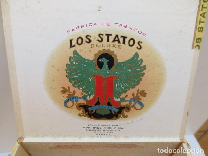 Cajas de Puros: CAJA DE PUROS - LOS STATOS DE LUXE - HABANA , CUBA - 100 DELIRIOS PETACAS - VACIA. - Foto 3 - 190078785