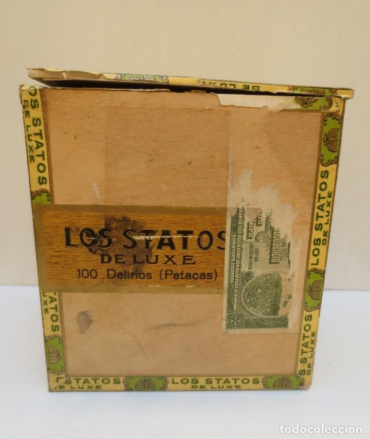 Cajas de Puros: CAJA DE PUROS - LOS STATOS DE LUXE - HABANA , CUBA - 100 DELIRIOS PETACAS - VACIA. - Foto 7 - 190078785