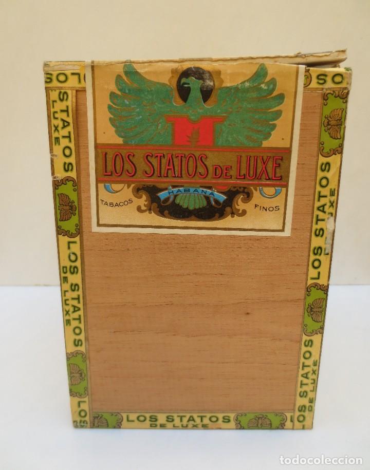Cajas de Puros: CAJA DE PUROS - LOS STATOS DE LUXE - HABANA , CUBA - 100 DELIRIOS PETACAS - VACIA. - Foto 4 - 190078785