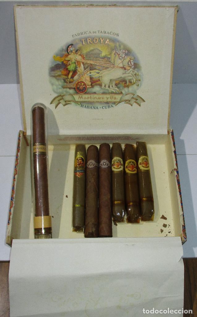 CAJA DE PUROS TROYA, MARTINEZ Y CIA, HABANA, CUBA, CON VARIOS PUROS MONTECRISTO, ALVARO,... (Coleccionismo - Objetos para Fumar - Cajas de Puros)