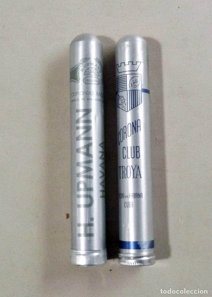 LOTE DE 2 PUROS HABANOS EN TUBO DE ALUMINIO, H.UPMANN - CORONA CLUB TROYA (Coleccionismo - Objetos para Fumar - Cajas de Puros)