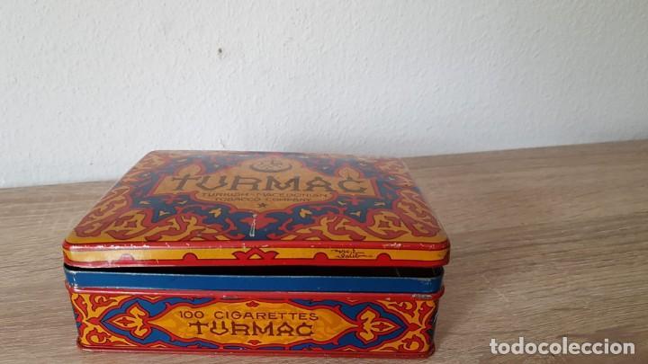 ANTIGUA CAJA DE TABACO/CIGARRILLOS ORIENTALES AÑOS 40-50 ECHA DE DE METAL, MARCA SELLADA TURMAC (Coleccionismo - Objetos para Fumar - Cajas de Puros)