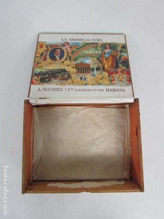 Cajas de Puros: Caja de Puros Vacía, Gran Fabrica de Tabacos y Puros - La Aroma de Cuba - J. Alvarez y Cª, La Habana - Foto 3 - 194295413