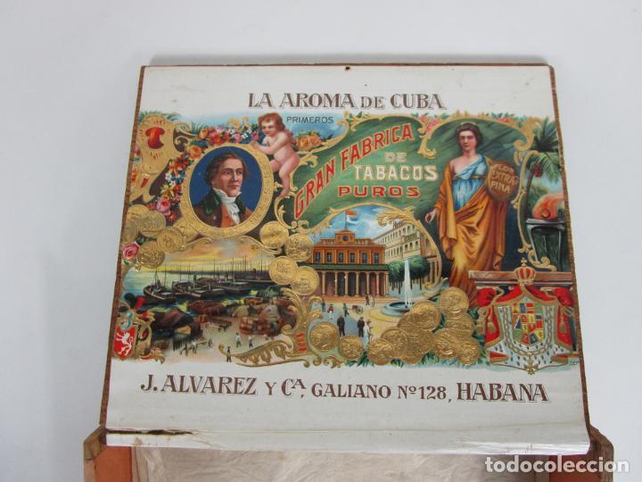 Cajas de Puros: Caja de Puros Vacía, Gran Fabrica de Tabacos y Puros - La Aroma de Cuba - J. Alvarez y Cª, La Habana - Foto 4 - 194295413