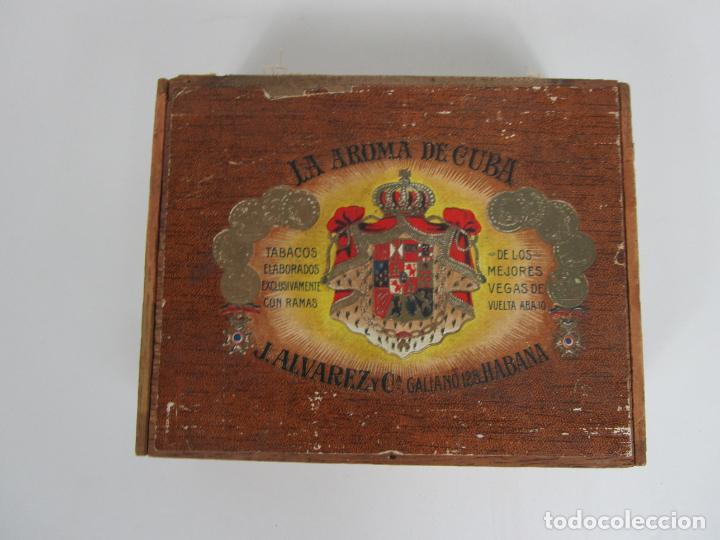 Cajas de Puros: Caja de Puros Vacía, Gran Fabrica de Tabacos y Puros - La Aroma de Cuba - J. Alvarez y Cª, La Habana - Foto 6 - 194295413