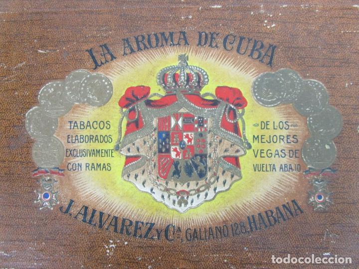 Cajas de Puros: Caja de Puros Vacía, Gran Fabrica de Tabacos y Puros - La Aroma de Cuba - J. Alvarez y Cª, La Habana - Foto 7 - 194295413