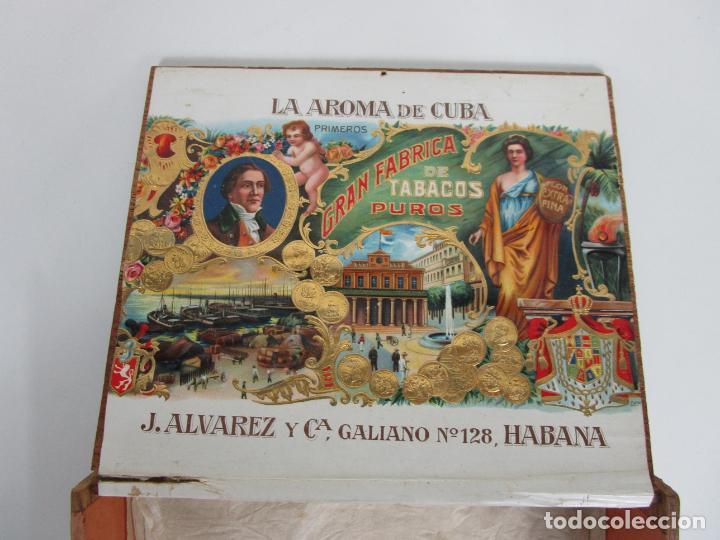 Cajas de Puros: Caja de Puros Vacía, Gran Fabrica de Tabacos y Puros - La Aroma de Cuba - J. Alvarez y Cª, La Habana - Foto 8 - 194295413