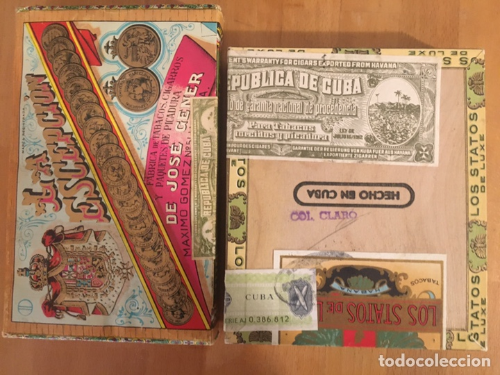 Cajas de Puros: Los Statos de Luxe Selectos and Pipe Tabaco 1970's, caja puros, cigar box, habanos - Foto 5 - 194341403