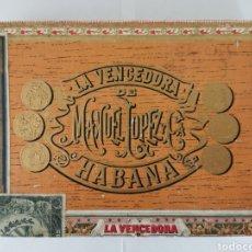 Cajas de Puros: CAJA DE PUROS VINTAGE CUBAN CIGAR BOX MANUEL LOPEZ GRANDEES. Lote 194591948