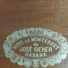 Cajas de Puros: HOYO DE MONTERREY DE JOSÉ GENER HABANA FAVORITOS DE ESPAÑA. Lote 194604837