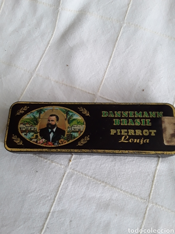 CAJA DE HOJALATA DANNEMANN BRASIL PIERROT LONJA (Coleccionismo - Objetos para Fumar - Cajas de Puros)