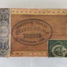 Cajas de Puros: CAJA DE PUROS VINTAGE CUBAN CIGAR BOX QUINTERO CONCHAS ENVIO INCLUIDO. Lote 194953647