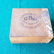 Cajas de Puros: CAJA DE PUROS DE MADERA EL PAIS - FRANCISCO TRUJILLO HERNANDEZ - 50 IMPERIALES (VACIA). Lote 195023852