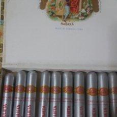 Cajas de Puros: ANTIGUA CAJA HABANOS 1978 ROMEO Y JULIETA CON 10 PUROS HABANOS EN TUBOS DE ALUMINIO N°1. Lote 195344686