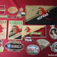 Cajas de Puros: LOTE 15 ETIQUETAS DE CAJAS DE CIGARROS PUROS: HOFNAR, KAREL I, BERTENJA, Y PALADIN SIGAREN, . Lote 195410018