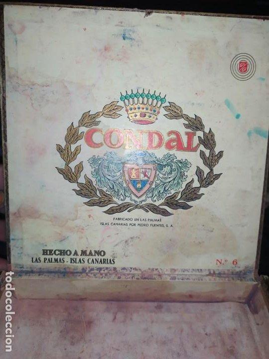 Cajas de Puros: ANTIGUA CAJA DE PUROS CONDAL HECHOS A MANO EN ISLAS CANARIAS PEDRO FUENTES VACIA ÚNICA? - Foto 9 - 195440978