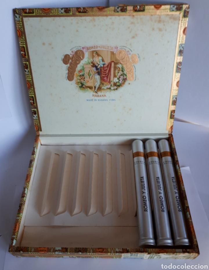 CAJA DE PUROS HABANOS ROMEO Y JULIETA. 10 CHURCHILLS TUBO DE ALUMINIO. CON TRES EJEMPLARES (Coleccionismo - Objetos para Fumar - Cajas de Puros)