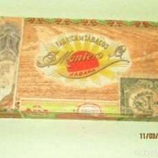 Cajas de Puros: ANTIGUA CAJA DE CIGARROS PUROS DE 25 ZARZUELAS DE FÁBRICA DE TABACOS MONTERO CUBA HABANA. Lote 196779115