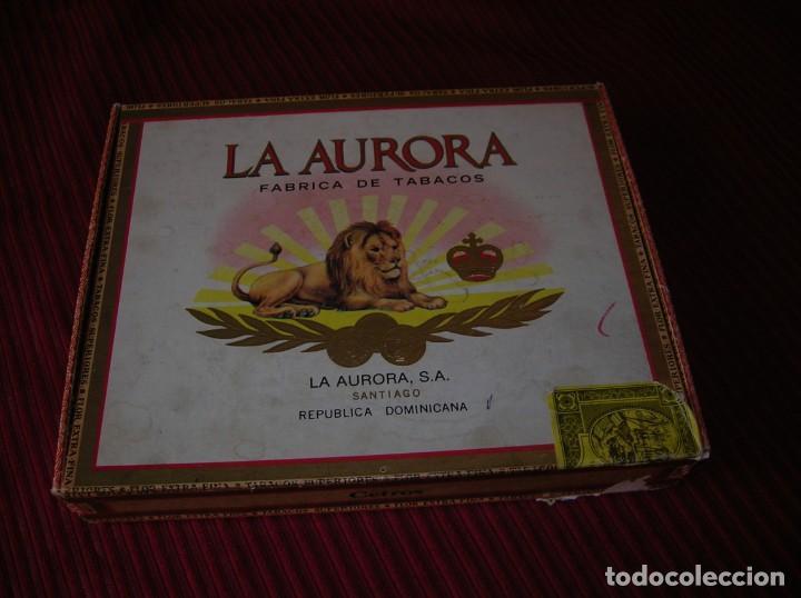 CAJA DE PUROS LA AURORA.REPÚBLICA DOMINICANA. (Coleccionismo - Objetos para Fumar - Cajas de Puros)
