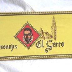 Cajas de Puros: PERSONAJES EL GRECO, CAJA COMPLETA 25 PUROS CON VITOLAS. TABACOS CAPOTE LA PALMA CANARIAS. Lote 198603792