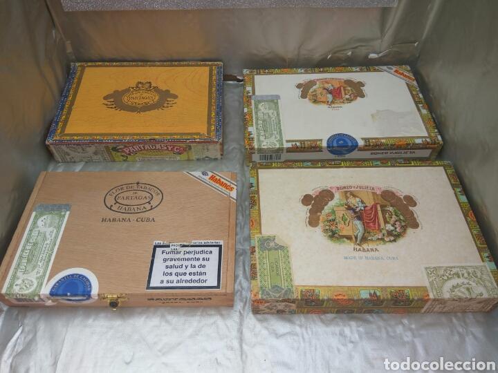 CAJA PUROS PARTAGAS Y ROMEO Y JULIETA VACIAS 4 UNID. (Coleccionismo - Objetos para Fumar - Cajas de Puros)