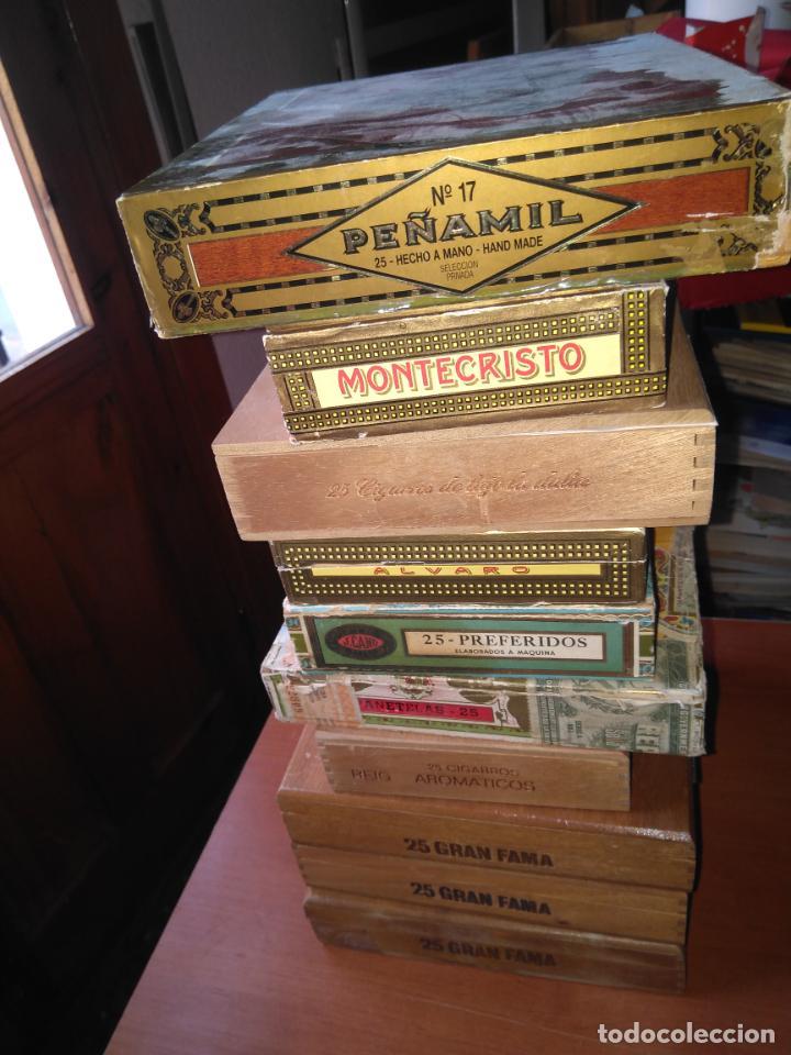 Cajas de Puros: LOTE DE 10 ANTIGUAS CAJAS DE PUROS Y PUROS - VEA LAS FOTOGRAFIAS - Foto 2 - 203109497