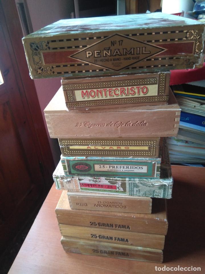 Cajas de Puros: LOTE DE 10 ANTIGUAS CAJAS DE PUROS Y PUROS - VEA LAS FOTOGRAFIAS - Foto 3 - 203109497