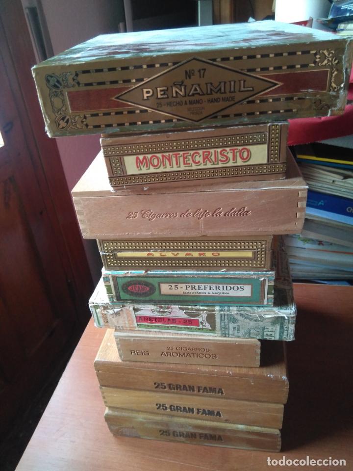 Cajas de Puros: LOTE DE 10 ANTIGUAS CAJAS DE PUROS Y PUROS - VEA LAS FOTOGRAFIAS - Foto 5 - 203109497