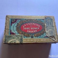 Cajas de Puros: CAJA VACIA DE PUROS LA ESCEPCIÓN DE JOSÉ GENER HABANA MED.:18,8X6X10 CMS. (G). Lote 205714015